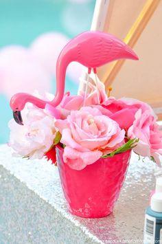 Flamingo Pool + Art Birthday Party by Kara Allen | Kara's Party Ideas KarasPartyIdeas.com Flamingle_-17