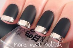 More Nail Polish: G'day Matte black with silver foil tips