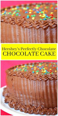 The best chocolate cake recipe ever, this Perfectly Chocolate Chocolate Cake by Hershey's is my favorite go-to cake recipe. Amazing Chocolate Cake Recipe, Best Chocolate Cake, Homemade Chocolate, Chocolate Chocolate, Chocolate Recipes, Just Desserts, Delicious Desserts, Cake Candy, Muffins