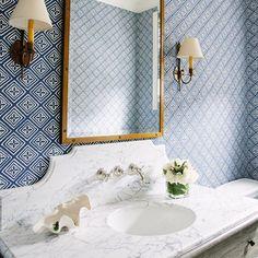 Design by @waterleafinteriors featuring Fiorentina wallpaper. #quadrillefabrics #waterleafinteriors #wallpaper #bathroomdesign