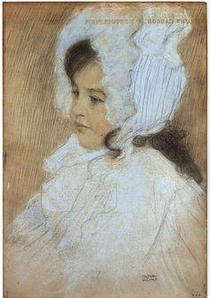 Gustav Klimt: Marie Moll Klimt. Various crayons. 1902.