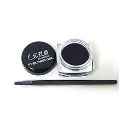Preto Waterproof Eye Liner Eyeliner escova da composição do gel – BRL R$ 12,05