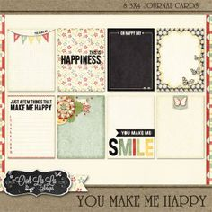 You Make Me Happy Journal Cards