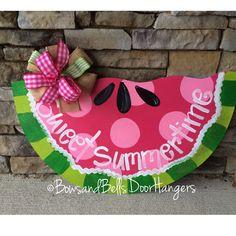 summer door hanger summer wreath summer by BowsandBellsHangers