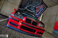 "E36 sedan red love on 18"" RAYS Gramlights"