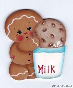 HP GINGERBREAD Milk & Cookie FRIDGE MAGNET #Handpainted