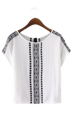 Samantha, Embroidery Blouses Back Neck Tassel