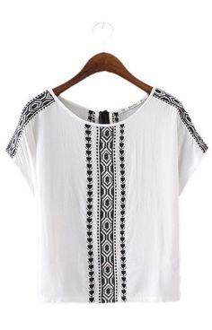 Samantha, Embroidery Blouses Back Neck Tassel
