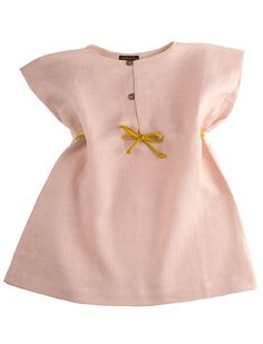 French linen dress with butterfly sleeves in romantic light old rose ADORABLE! sewing idea. too expensive to buy