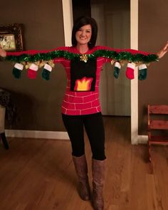 Human fireplace ugly Christmas sweater