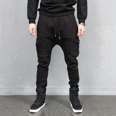 Low Crotch Cargo Pocket Baggy Sweatpants Streetwear Cargo Jogger Pants Black via SNEAKERJEANS STREETWEAR SHOP