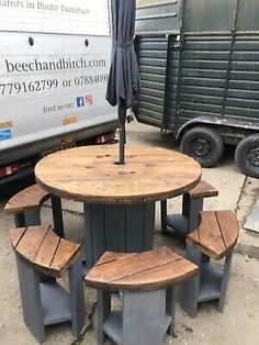 Wood Spool Tables, Wooden Outdoor Table, Cable Spool Tables, Outdoor Tables, Spools For Tables, Cable Spool Ideas, Cable Reel Table, Wooden Cable Reel, Wooden Cable Spools