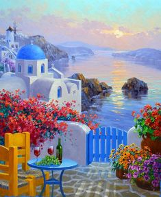 Evening& Allure Heavily embellished and textured Giclee on Canvas with signature finished edges by Mikki Senkarik The image dimensions are and the outside dimensions to include the artists signature finished edge are This painti Greece Painting, Greek Isles, Kunst Poster, Santorini Greece, Crete Greece, Athens Greece, Painting Inspiration, Landscape Paintings, Watercolor Paintings