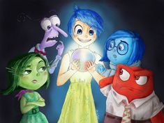 Just saw Inside Out over this weekend and loved it! More Markiplier fan ar. Inside Out - Core Memory (Group) Sadness Inside Out, Movie Inside Out, Disney Inside Out, Joy And Sadness, Disney Ears, Disney Pixar, Disney Characters, Markiplier Fan Art, Upcoming Movies