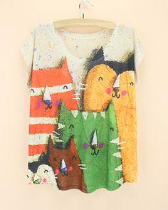 Новинка граффити рисунком кошки женская футболка новые модные дизайнерские женские футболки Свободный стиль летняя футболка бесплатная доставка