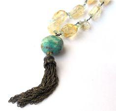 OOAK Tumbled Quartz Turquoise Fringe Necklace by GemsFitForAQueen, $69.99