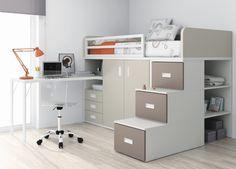 Juvenil Litera block con contenedores, armario integrado y escritorio. Ref: JUV07 Mobelinde - Muebles a medida Barcelona. Fábrica y tiendas. Fabricación propia de muebles juveniles, armarios, dormitorios, salones, mesas y sillas, estudio y oficina, cocina, complementos.