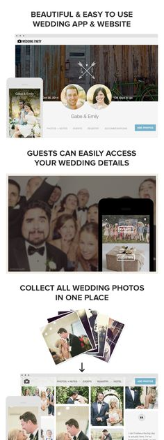 Wedding Party lets you create & customize your own free #wedding #app and #website for your guests. Guests can easily access all important wedding info like hotel, travel and registry details. They can also instantly share all the photos they take at your wedding events with you and other guests, no matter if they're using a phone or digital camera to capture the moment!    They're also partnered with mywedding for a more seamless wedding experience!