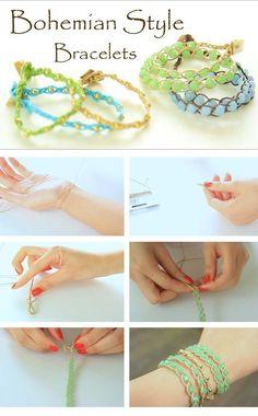 Tutorial para hacer pulseras de estilo bohemio con cuentas y cintas enceradas y trenzando.