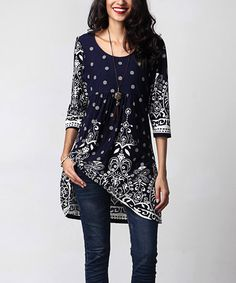 Another great find on #zulily! Navy Suzani Empire-Waist Tunic Dress by Reborn…