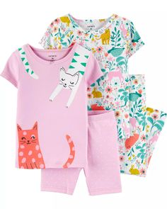 4-Piece Floral Cat Snug Fit Cotton PJs | carters.com