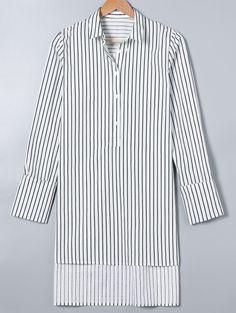 Blouses&Shirts | Trendy Striped High Low Hem Shirt #fashion #style #stripe…