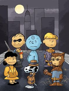 "Peanuts as the Watchmen by Evan Shaner! (He doesn't want to be ""the guy who drew Watchpeanuts"", and for good reason, the rest of his art is GREAT!) http://www.evanshaner.com/"