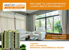 Arihant Aarohi  Kalyan Shill Road - 1 2 & 3 BHK Flats - 3 Towers, Stilt+18 Storeyed, Residential Cum Commercial Project UPVC Sound Resistant French Window http://www.asl.net.in/arihant-aarohi.html #ArihantAarohi #RealEstate #Homes #Property #Residential #Commercial #KalyanShillRoad