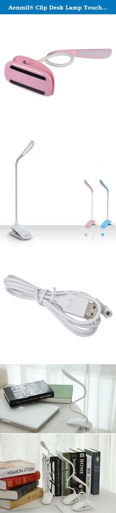Aenmil® Clip Desk Lamp Touch-sensitive Switch with Adjustable Brightness, Flexible Gooseneck Tube Clip Clamp Desk Table Lamp Book Reading Light Bedside Lamp Light for Table Office Home Dorm(Pink). Package Included: 1 x Led Desk Lamp 1 x USB cable 1 x User Manual Product Description: 1. 14 Powerful, Long-Life LEDs w/Adjustable Brightness 2. Touch switches, third gear light intensity, humanized design, make your eyes in a comfortable environment. 3. Simple and stylish, easy to operate, the...