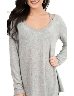 Moa Moa Women's Grey with Slit Shoulders Long Sleeve Casual Knit Top | Cavender's