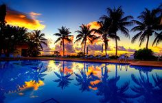 sunset by the beach in the pool=priceless