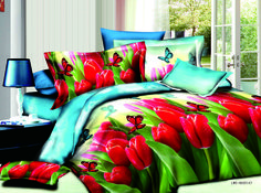 Luxury Red Tulip and Butterfly Print 4-Piece Polyester Duvet Cover Sets
