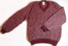 Vintage 1970s Jumper/Hand Knitted/Red/Plum/V-neck/Mohair type yarn on Etsy, £29.99