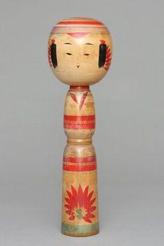 VIntage Kokeshi doll, spindle shape.