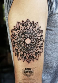 Mandala Circle Arm Tattoo with lotus petals on outer side. by Body Canvas Simple Mandala Tattoo, Lotus Mandala Tattoo, Lotus Tattoo Design, Shape Tattoo, Dot Work Tattoo, Creative Tattoos, Unique Tattoos, Round Tattoo, London Tattoo
