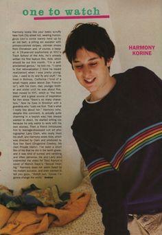 'one to watch' Harmony Korine - Sassy Magazine January 1994 Kids Harmony Korine, Larry Clark Photography, Sassy Magazine, Ski Sweater, Bra Pattern, Film Inspiration, Coming Of Age, Looks Cool, Young Man