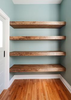 (Yellow Brick Home) DIY Floating Wood Shelves! (Yellow Brick Home),The White house DIY Floating Wood Shelves! Not sure we could diy but love the chunky wood Related posts:Bringen Sie die. Regal Bad, Floating Shelves Diy, Diy Wood Shelves, Wood Closet Shelves, Build Shelves, Deep Shelves, Hanging Shelves, Building Floating Shelves, Building Closet Shelves