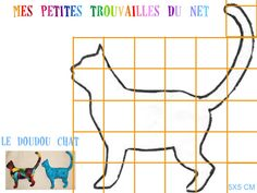 Template of cat Cross Stitch Embroidery, Cross Stitch Patterns, Couture Bb, Stencil, Attic Window Quilts, Animal Quilts, Cat Crafts, Cat Pattern, Vintage Children's Books
