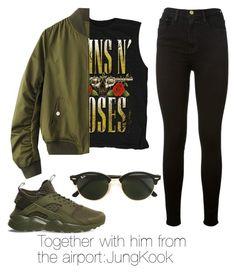 """""""Together with him from the airport:JungKook"""" by viva73319 on Polyvore featuring мода, NIKE, Ray-Ban и Frame Denim"""