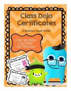 This includes four pages of color Class Dojo point certificates featuring eight different Dojo avatars and one page of black and white Dojo certificates.Class Dojo is a great classroom management tool that can be used to promote PBIS in your classroom. Classroom Rewards, Classroom Behavior Management, Classroom Organisation, Classroom Displays, Future Classroom, School Classroom, School Organization, Classroom Ideas, Behaviour Management