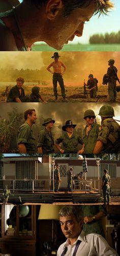 Apocalypse Now. Conforme avanza la película, los colores, fuertes y llamativos en un principio, se van tornando más débiles y pálidos con el fin de mostrarnos la locura en la que se embarcan los personajes a lo largo de su terrible viaje.