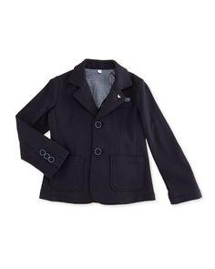 Jersey-Knit Tailored Blazer, Indigo, Size 2-8, Boy's, Size: 8 - Armani Junior