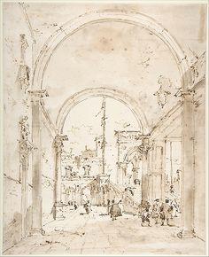 Francesco Guardi | Architectural Capriccio: Grand Staircase Seen ...