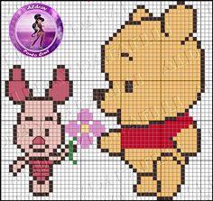 Disney Piglet and Winnie the Pooh cross stitch. Disney Cross Stitch Patterns, Cross Stitch For Kids, Mini Cross Stitch, Modern Cross Stitch Patterns, Cross Stitch Designs, Melty Bead Patterns, Beading Patterns, Embroidery Patterns, Cross Stitching