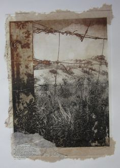 luise guest - boundary line, solar plate etching printed in two colours with chine colle, 2012 Art Du Collage, Etching Prints, Landscape Art, Textile Art, Paper Art, Graphic Art, Art Projects, Art Drawings, Abstract Art