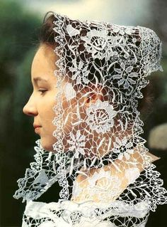 Portrait of a young woman wearing a traditional headdress, Baud, France Needle Lace, Bobbin Lace, Antique Lace, Vintage Lace, Irish Crochet, Crochet Lace, Rose Shabby Chic, Types Of Lace, Lacemaking