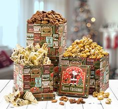 Happy Holiday Honey Nuts And Popcorn, Cherry Bark Gourmet Gift Basket 3 Tier Tower Merry Christmas By Benevelo Gifts