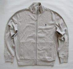 Polo Ralph Lauren Performance Jacket M Gray Full Zip French Rib Knit Sweatshirt #PoloRalphLauren #TrackJacket