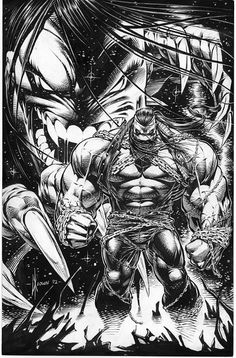 Dale Keown - PITT Promo Poster art, in Frank Mastromauro's Dale Keown Comic Art Gallery Room Comic Book Artists, Comic Book Characters, Comic Book Heroes, Comic Artist, Comic Character, Comic Books Art, Character Sketches, Black And White Comics, Black White Art