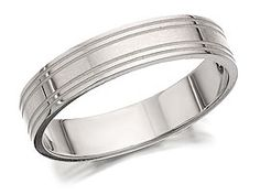 9ct White Gold Banded Brides Wedding Ring  4mm - 182473